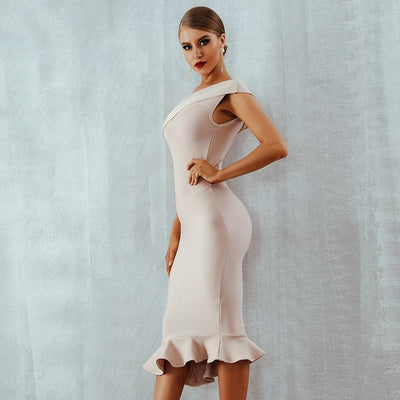 One Shoulder Cocktail Dress Apricot / XS - Women Dresses | MegaMallExpress.com