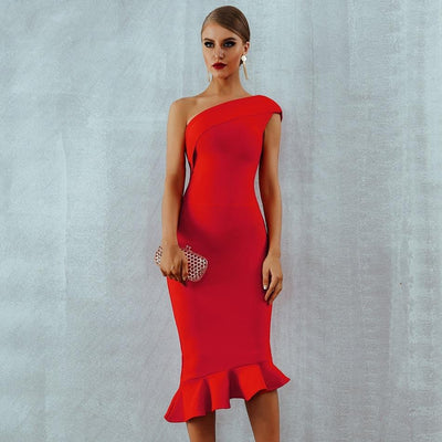 One Shoulder Cocktail Dress Red / XS - Women Dresses | MegaMallExpress.com