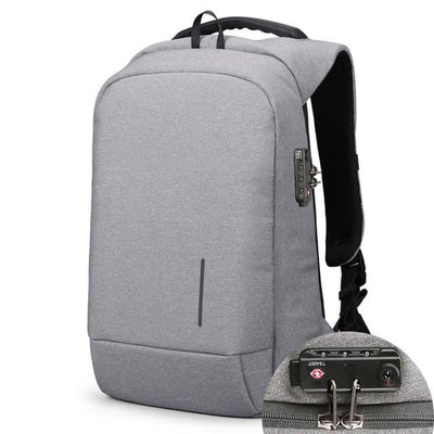 USB Charging Anti-Theft Smart Backpacks Light Grey Lock / 15 Inches - Everyday Backpacks | MegaMallExpress.com