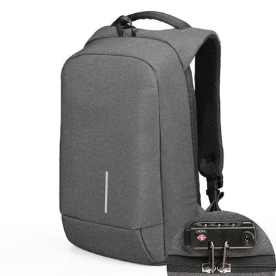 USB Charging Anti-Theft Smart Backpacks Dark Grey Lock / 15 Inches - Everyday Backpacks | MegaMallExpress.com