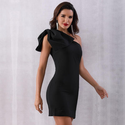 2019 Summer One Shoulder Black Or White Mini Dress Black / S - Women Dresses | MegaMallExpress.com