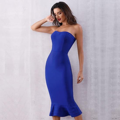 2019 Sexy Strapless Party Dresses Blue / XS - Women Dresses | MegaMallExpress.com