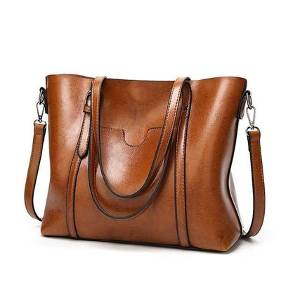 Women's Oil Waxed Leather Shoulder Bags brown / 30 x 12 x 26 cm - Women Handbags & Purses | MegaMallExpress.com