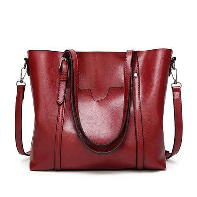 Women's Oil Waxed Leather Shoulder Bags Burgundy / 30 x 12 x 26 cm - Women Handbags & Purses | MegaMallExpress.com