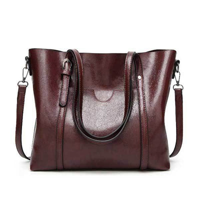 Women's Oil Waxed Leather Shoulder Bags coffee / 30 x 12 x 26 cm - Women Handbags & Purses | MegaMallExpress.com