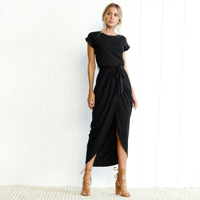 Women Slit Maxi Dress Black / XXL - Women Dresses | MegaMallExpress.com