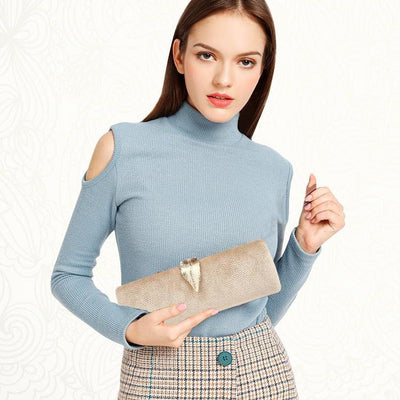 Women Faux Suede Evening Clutch Bag  - Women Handbags & Purses | MegaMallExpress.com