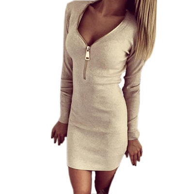 Women Sheath Dress Long Sleeves Khaki / XL - Women Dresses | MegaMallExpress.com