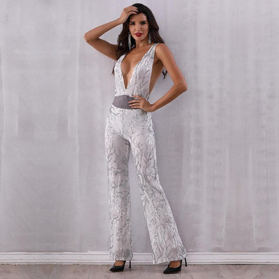 2019 Sexy Deep V Neck Party Jumpsuit White / S - Women Rompers & Jumpsuits | MegaMallExpress.com
