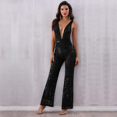 2019 Sexy Deep V Neck Party Jumpsuit Black / S - Women Rompers & Jumpsuits | MegaMallExpress.com