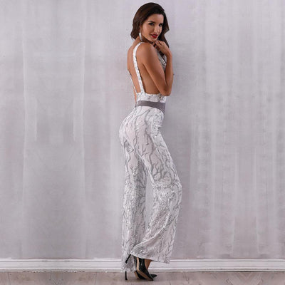 2019 Sexy Deep V Neck Party Jumpsuit  - Women Rompers & Jumpsuits | MegaMallExpress.com