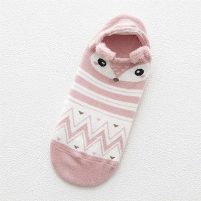 Women Animal Print Cotton Socks Pink-1689 / One Size - Women Socks & More | MegaMallExpress.com