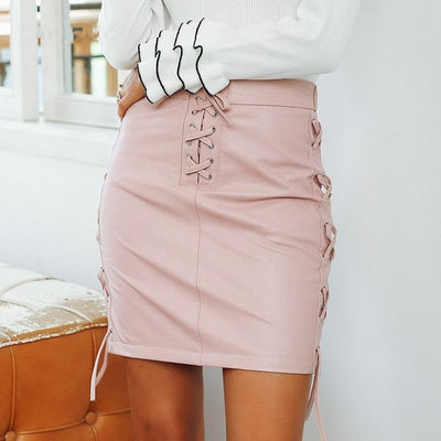 Lace Up Faux Leather Mini Skirt Pink / L - Women Bottoms | MegaMallExpress.com