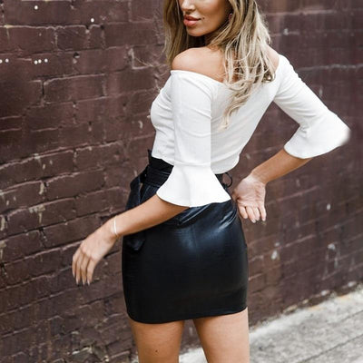 Women's Leather Fitted Mini Skirt  - Women Bottoms | MegaMallExpress.com