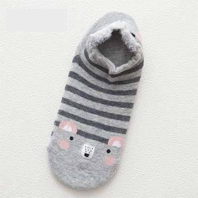 Women Animal Print Cotton Socks Gray-1685 / One Size - Women Socks & More | MegaMallExpress.com