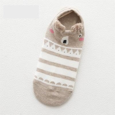 Women Animal Print Cotton Socks Brown-1694 / One Size - Women Socks & More | MegaMallExpress.com