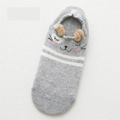 Women Animal Print Cotton Socks Gray-1693 / One Size - Women Socks & More | MegaMallExpress.com