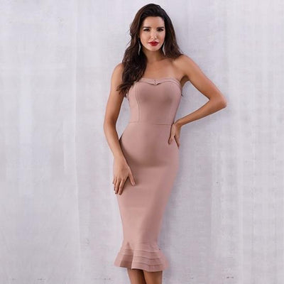 2019 Sexy Strapless Party Dresses Apricot / XS - Women Dresses | MegaMallExpress.com