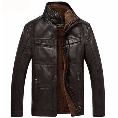 Best Men's Faux Leather Jacket Black Coffee / 5XL - Men Jackets & Coats | MegaMallExpress.com