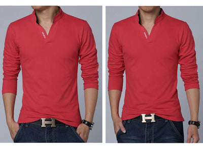 Men's Long Sleeve Polo  - Men Tops & Tees | MegaMallExpress.com