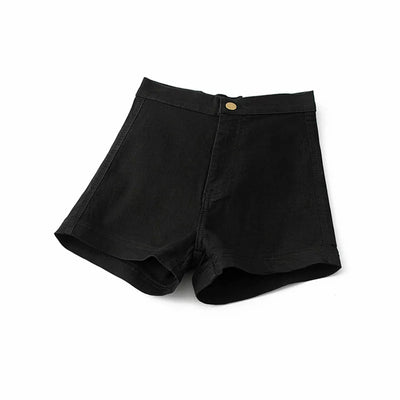 Tight Fitting High Waist Jean Shorts black / XL - Women Bottoms | MegaMallExpress.com