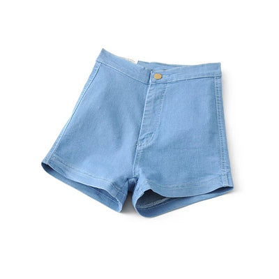 Tight Fitting High Waist Jean Shorts light blue / XL - Women Bottoms | MegaMallExpress.com