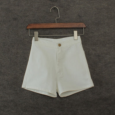 Tight Fitting High Waist Jean Shorts white / XL - Women Bottoms | MegaMallExpress.com