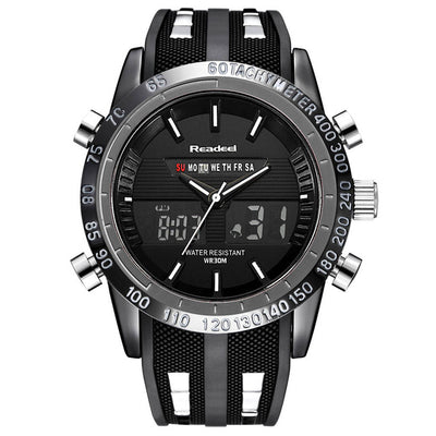 Men Waterproof Sports Watch Digital And Analog Black - Men Watches | MegaMallExpress.com