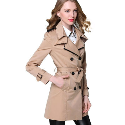 Women Double Breasted Trench Coat Khaki / XXXL - Women Jackets & Coats | MegaMallExpress.com