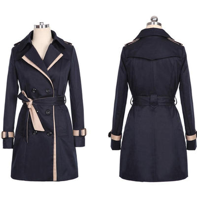 Women Double Breasted Trench Coat Black / XXXL - Women Jackets & Coats | MegaMallExpress.com