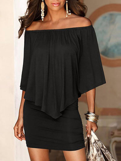 Women Off The Shoulder Mini Dress With Sleeves  - Women Dresses | MegaMallExpress.com