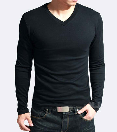 Men's Slim Fit Long Sleeve V-Neck T-Shirt V neck Black / 5XL - Men Tops & Tees | MegaMallExpress.com
