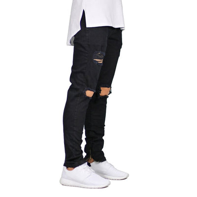 Men's Ripped Skinny Jeans Black / 38 - Men Bottoms | MegaMallExpress.com