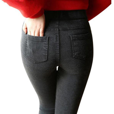 Women Denim Leggings Black gray / L - Women Bottoms | MegaMallExpress.com