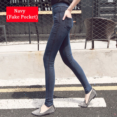 Women Denim Leggings Navy / S/M (42-44) - Women Bottoms | MegaMallExpress.com