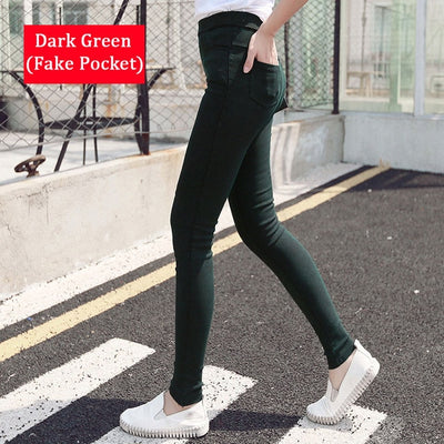 Women Denim Leggings Dark green / S/M (42-44) - Women Bottoms | MegaMallExpress.com