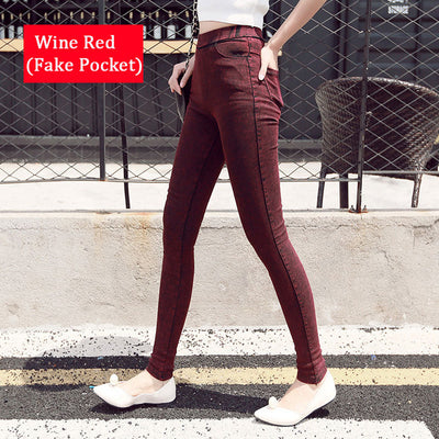 Women Denim Leggings Wine red / S/M (42-44) - Women Bottoms | MegaMallExpress.com