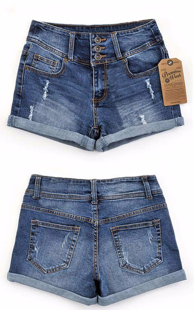 Women Mid Waist Denim Shorts  - Women Bottoms | MegaMallExpress.com
