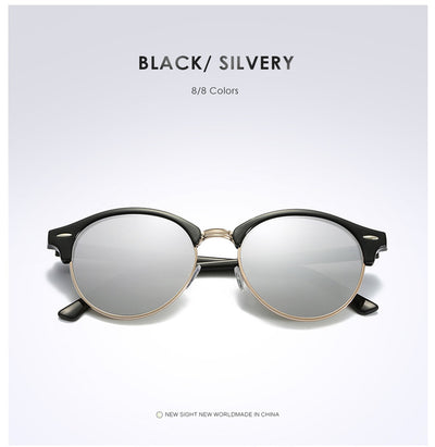 Unisex Polarized Round Sunglasses Silver - Men Sunglasses | MegaMallExpress.com