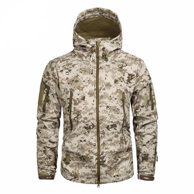 Men's Military Camouflage Jacket of Durable Polyester Dune Brown / XXXL - Men Jackets & Coats | MegaMallExpress.com