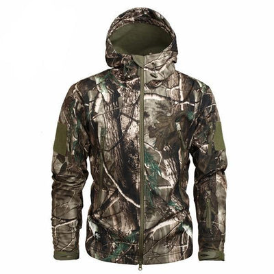 Men's Military Camouflage Jacket of Durable Polyester Charcoal Brown / XXXL - Men Jackets & Coats | MegaMallExpress.com