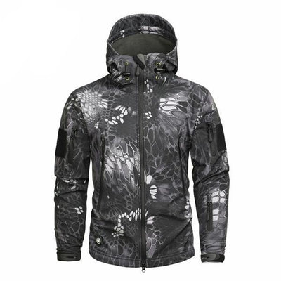 Men's Military Camouflage Jacket of Durable Polyester Dark Gray / S - Men Jackets & Coats | MegaMallExpress.com