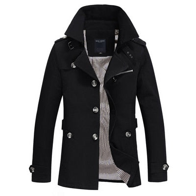 Men's Single Breasted Trench Coat Black / 5XL - Men Jackets & Coats | MegaMallExpress.com