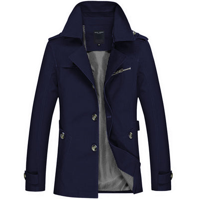 Men's Single Breasted Trench Coat Blue / 5XL - Men Jackets & Coats | MegaMallExpress.com