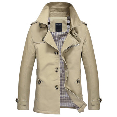 Men's Single Breasted Trench Coat Khaki / 5XL - Men Jackets & Coats | MegaMallExpress.com