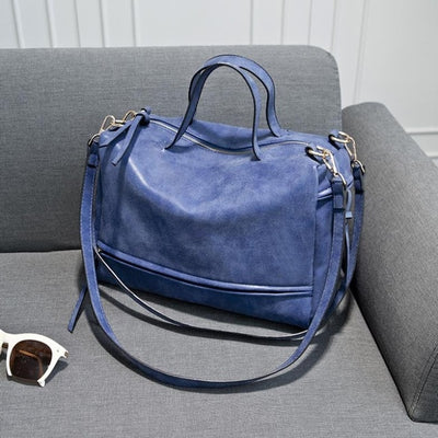 Women Vintage Faux Leather Shoulder Bags blue / 33 x 13 x 23 cm - Women Handbags & Purses | MegaMallExpress.com