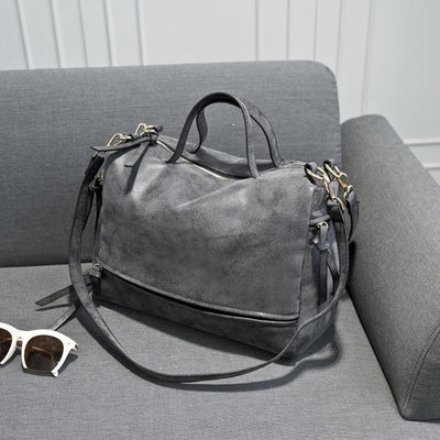 Women Vintage Faux Leather Shoulder Bags gray / 33 x 13 x 23 cm - Women Handbags & Purses | MegaMallExpress.com