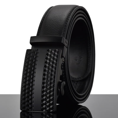 Automatic Buckle Leather Waist Strap Belts Black Y / 130cm - Men Belts | MegaMallExpress.com
