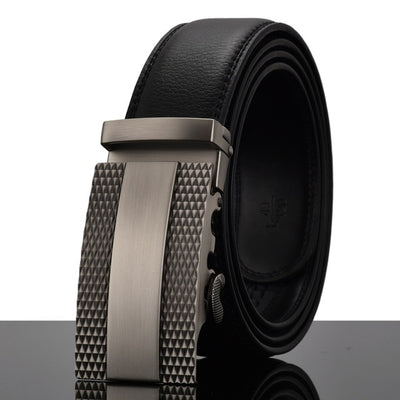 Automatic Buckle Leather Waist Strap Belts Black W / 130cm - Men Belts | MegaMallExpress.com