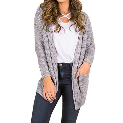 Women Knitted Cardigan Sweater With Pockets Gray / XXXL - Women Sweaters | MegaMallExpress.com